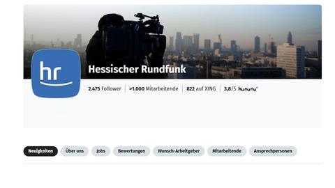 Die Seite des Hessischen Rundfunks bei Xing