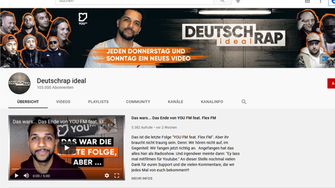 Screenshot Deutschrap ideal YouTube