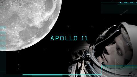 """Mond, Schriftzug """"Apollo 11"""" und das Gesicht eines Mannes in einem Weltraumanzug"""