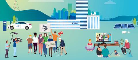 """Cover des ARD-Nachhaltigkeitsberichts, grafisch: Funkhaus, E-Auto, Filmteam, Menschen mit """"Future""""-Transparent und Menschen vor Bildschirmen."""