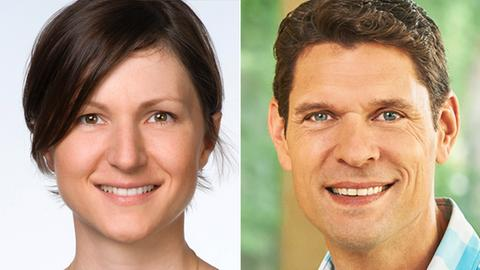 Collage zweier Portaitaufnahmen: Antonia Ansari und Jürgen Brzoka