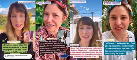 Breitengrad 34 Collage: Dunja Sadaqi und Katharina Wilhelm in ihren Insta-Storys