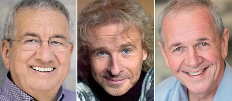 hr1-Moderator Werner Reinke , BR1-Moderator Thomas Gottschalk und BR1-Moderator Fritz Egner