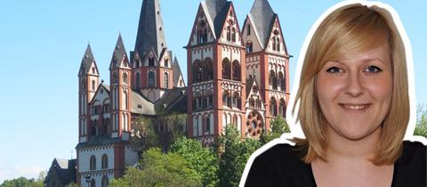 Regionalreportern Lisa Geßner, im Hintergrund der Limburger Dom