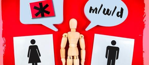 """Symbolbild: Holzfigur vor rotem Hintergrund, Sprechblasen mit """"m/w/d"""" sowie Pictogramm von Mann und Frau sowie der Genderstern."""