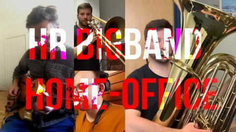 """Bildcollage unterschiedlicher Bigband-Musiker beim Spielen mit dem Titel """"hr Bigband Home Office"""""""
