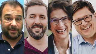 Die hr-Kommentator*innen der EURO 2021: Tim Brockmeier, Philipp Hofmeister, Martina Knief und Florian Naß