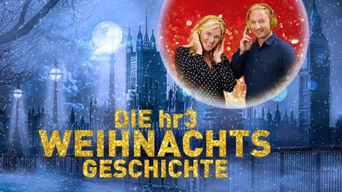 Tanja und Tobi vor einem verschneiten Schloss, vor ihnen die Grafik: hr3- weihnachtsgeschichte