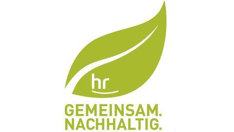 """Logo: hellgrünes stilisiertes Blatt mit integriertem hr-Logo, darunter in Grossbuchstaben """"gemeinsam nachhaltig"""""""