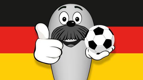 Onkel Otto mit Fußball in der Hand vor Deutschland-Fahne
