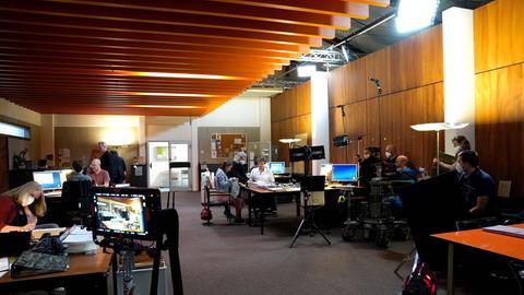 Dreharbeiten in der neuen Kulisse des Frankfurter Polizeipräsidiums