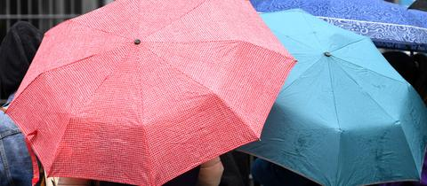 Jugendliche sind von hinten mit Schirmen in der Hand zu sehen.