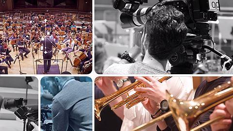 Das hr-Sinfonierochester spielt das neue Sounddesign für YOU FM ein (Collage)