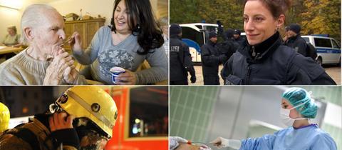 Collage aus vier Porträts systemrelevanter Berufe: Altenpflegerin, Polizistin, Feuerehrmann, OP-Schwester