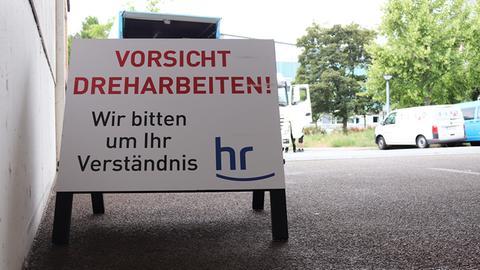 Tatort-Dreh auf dem Gelände des Hessischen Rundfunk.