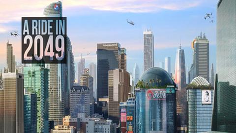 """Computergrafik zeigt eine Skyline und den Schriftzug """"A ride in 2049"""""""