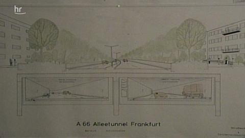 """Karte zum Bauvorhaben """"Alleentunnel"""": Bild aus der Hessenschau vom 17.02.1978"""