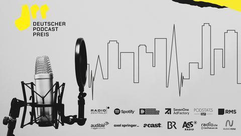 Key-Visual des Deutschen Podcastpreises mit Logo, Mikrofon, und den Logos der 13 Preisinitiatoren.