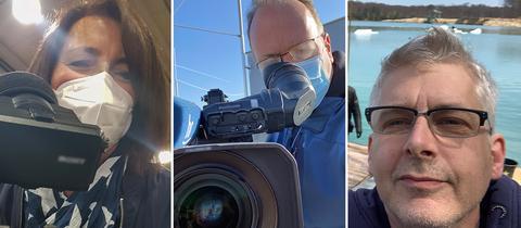 Die Kollage zeigt drei Fotos von hr-Mitarbeiter*innen: Christine Kaltenschnee (links) und Andreas Nitsch (Mitte) stehen mit Maske hinter der Kamera. Tonmann Clemes Förster (rechts) ist beim Außendreh an einem See.