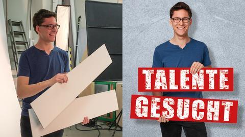 Niklas Jung hält im Fotostudio des hr zwei weiße breite Schilder in die Kamera.