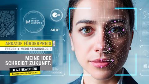Eine Grafik wirbt für den ARD/ZDF Förderpreis Frauen und Medientechnologie