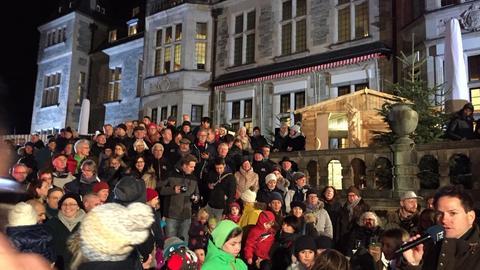 Weihnachtlich Kulisse hr-Weihnachtsstern Schlosshotel Kronberg