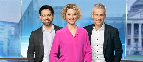 """Daniel Johé, Kristin Gesang und Andreas Hieke moderieren im Wechsel die """"hessenschau""""."""