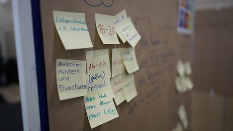 Viele bunte Klebezettel hängen an einer Wand.