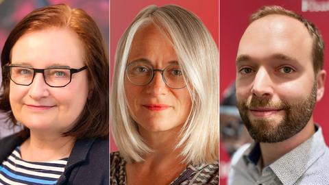 """Die """"Kulturzeit""""-Redaktion des Hessischen Rundfunks (v.l.n.r.): Ursula May, Christine Romann und Simon Broll"""