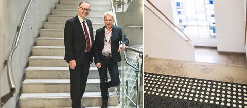 Manfred Krupp und Roswitha Scherer im Treppenhaus
