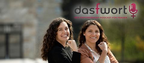 """Podcast """"Das F-Wort - der Empowerment-Podcast für Frauen"""" auf violettfarbenem Hintergrund"""