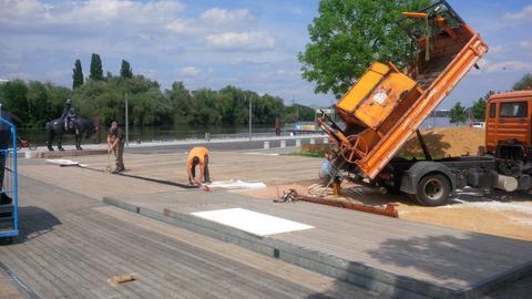 Hessentag: Sand für den hr-Beach
