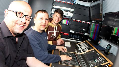 hr-Mitarbeiter Uwe Tapken, Andy Förster und Tim Grube