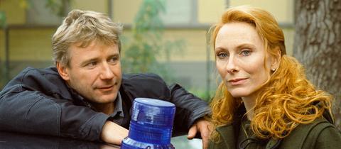 Jörg Schüttauf und Andrea Sawatzki als Tatort-Kommissare Fritz Dellwo und Charlotte Sänger