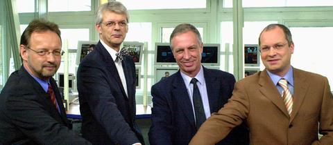 Einweihung des des neuen Newsstudios im März 2003