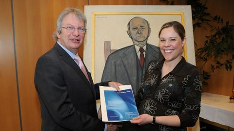 Monika Schäfer mit Hörfunkdirektor Heinz Sommer