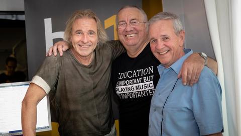 Thomas Gottschalk, Werner Reinke und Fritz Egner im hr1-Studio