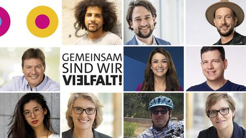 """Die Porträts der Bildergalerie in der Zusammenschau, dazu ARD-Logo """"Gemeinsam sind wir Vielfalt"""""""