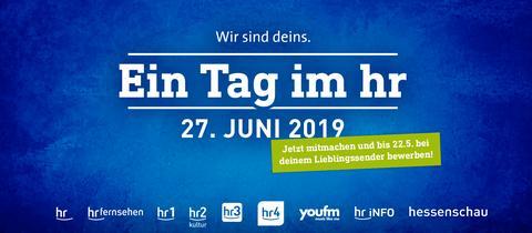 """Der Text """"Ein Tag im hr: 27. Juni 2019"""" auf blauem Hintergrund"""