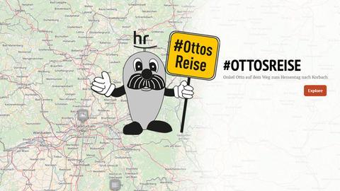 Onkel Otto ist als Zeichnung zu sehen, der Hintergrund besteht aus einer Karte