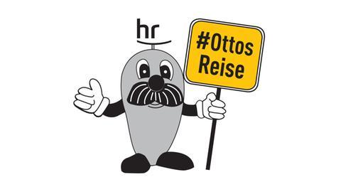 """Zeichnung von Onkel Otto, der ein Schild mit der Aufschrift """"Ottos Reise"""" hoch hält"""