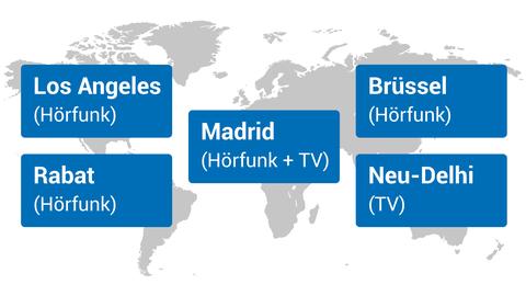 Die hr-Auslandskorrespondenten auf einer Weltkarte