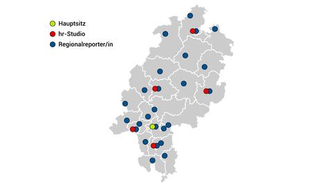 Standorte des Hessischen Rundfunks: Karte