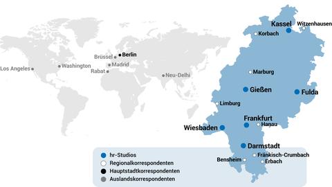 Karte hr-Studios und Korrespondenten