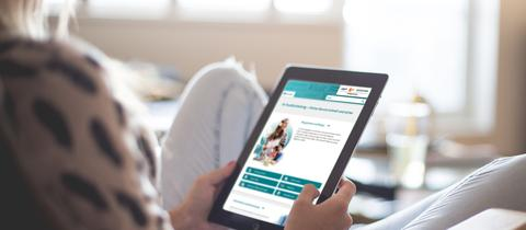 Die Seite www.rundfunkbeitrag.de auf einem Tablet betrachtet