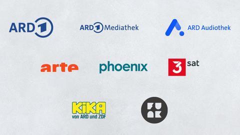 Logos aller Sender, für die das hr-fernsehen produziert: Das Erste, arte, 3sat, phoenix, KiKa und ARD Digital